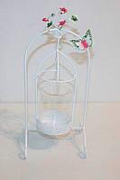 Подсвечник  декоративный металл белый - 30-12-11 см