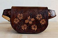 Сумка на поясе ручной работы, женская из натруальной кожи