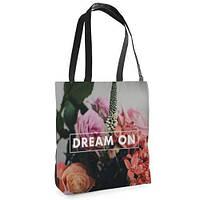 Большая черная сумка Нежность с принтом Мечтай
