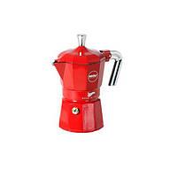 Кофеварка гейзерная, на 3 порции, красная zarina