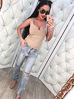 Женские весенние джинсы с прорезами