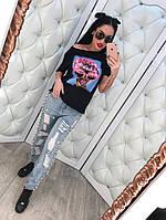 Молодежные женские джинсы с прорезами