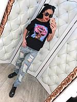 Модные женские  джинсы с прорезами