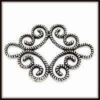Декоративный элемент, серебро (4,5х3,1 см) 4 шт в уп