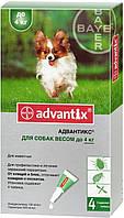 Капли Bayer Advantix (капли от блох, клещей и комаров) для собак до 4кг (1 пипетка)