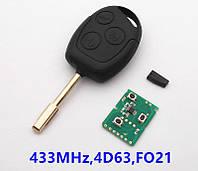 Ключ Ford с платой 433Mhz, лезвием FO21 и чипом 4D63