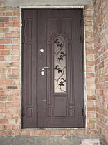 Двостулкові вхідні парадні двері зі склопакетом та ковкою, фото 3