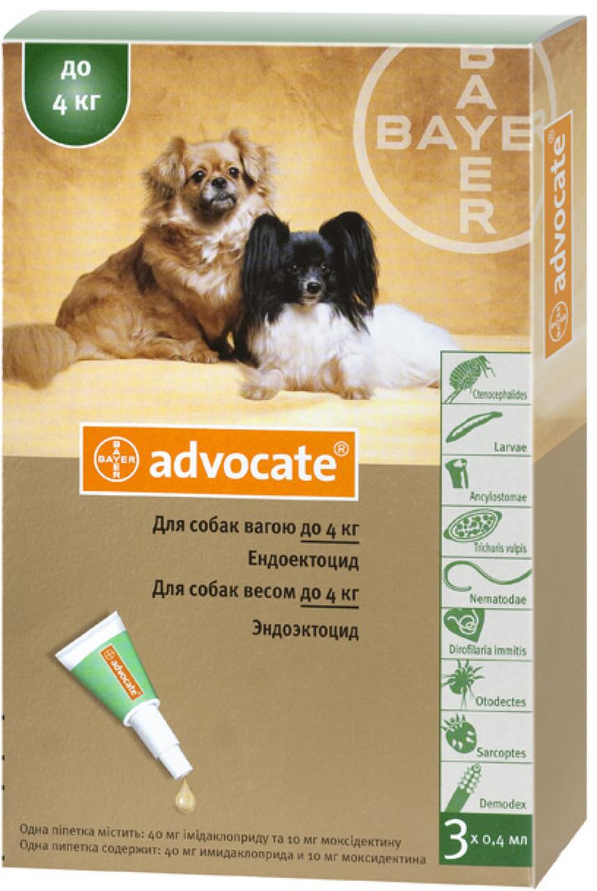 Капли Bayer Advocate (капли от блох, клещей и глистов) для собак до 4кг (1 пипетка)