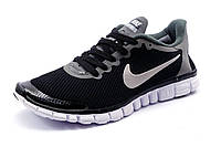 Кроссовки Найк Free Run 3.0 текстиль, мужские, черные с серым, р. 41 42 43 44 45