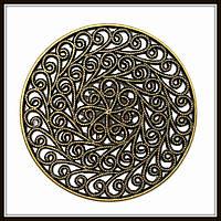 """Декоративный элемент """"круглый ажур"""" бронза (диам. 5,2 см) 1 шт в уп."""