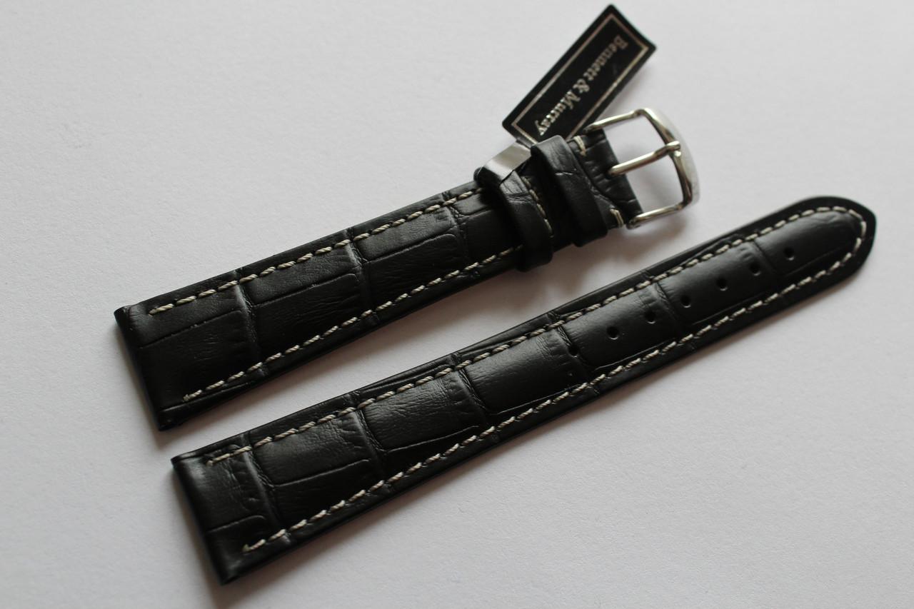 Кожаный ремень Bennett&Murray-ремень из натуральной кожи черный под крокодил  с белой прошивкой 20 мм