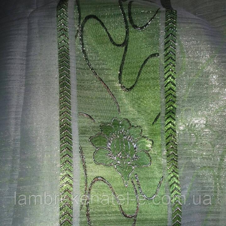 Тюль зеленый цветок люрекс