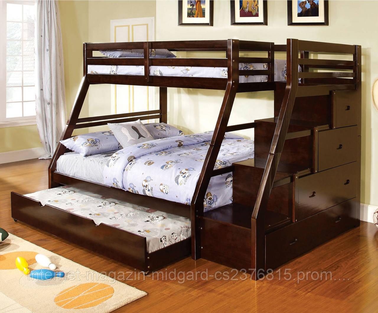 """Двухярусная  кровать семейного типа """"Аделия """" массив дерева"""