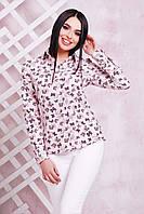 """Блуза с принтом """"бабочка""""с 42 по 50 размер 3 цвета"""