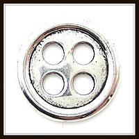 """Декоративный элемент """"пуговица"""", серебро (диам. 2 см) 6 шт в уп"""