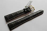 Кожаный ремень Bennett&Murray-ремень из натуральной кожи коричневый крокодил с белой строчкой 20 мм