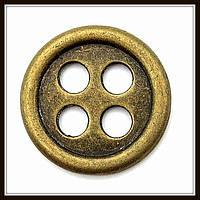 """Декоративный элемент """"пуговица"""", бронза (диам. 2 см) 6 шт в уп"""
