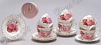 Кофейный набор на 6 персон (12 предметов) Розы, 90мл 222-154