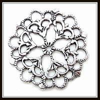 """Декоративный элемент """"круглый ажур"""", серебро (диам. 2,8 см) 6 шт в уп"""