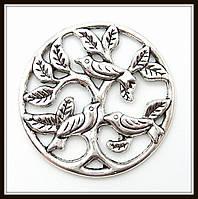"""Декоративный элемент """"Дерево с птицами"""", серебро (диам. 3,3 см) 3 шт в уп"""