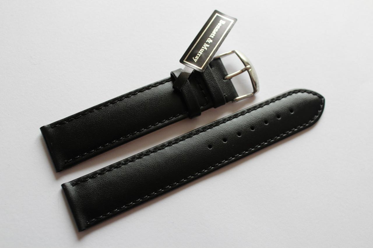 Кожаный ремень Bennett&Murray-ремень из натуральной кожи черный гладкий 20 мм