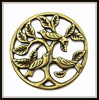 """Декоративный элемент """"Дерево с птицами"""", бронза (диам. 3,3 см) 3 шт в уп"""