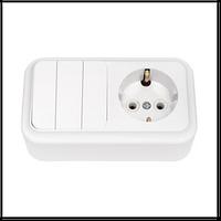 Блок выключатель трехклавишный/розетка c заземлением Bylectrica Пралеска 3В-РЦ-531