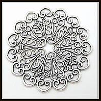 """Декоративный элемент """"круглый ажур"""", серебро (диам. 5,2 см) 1 шт в уп"""