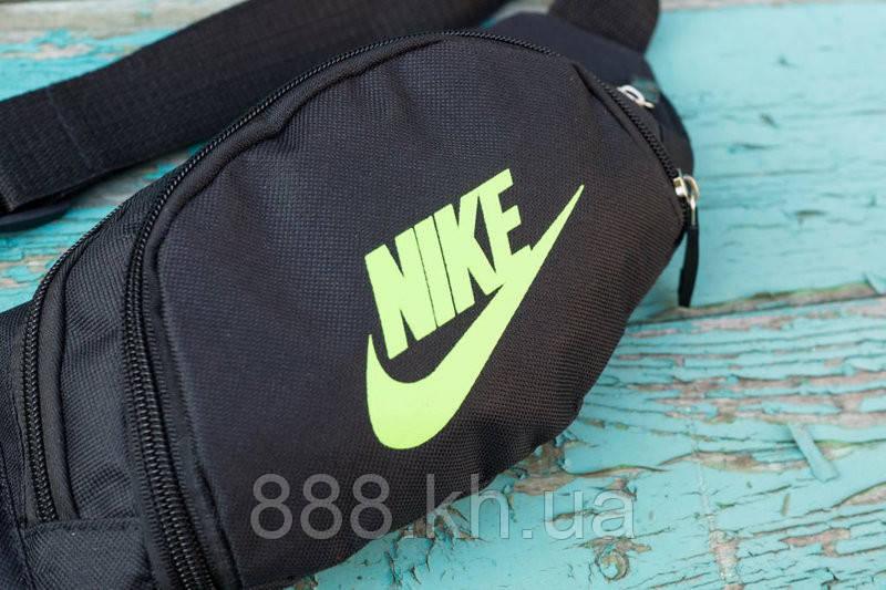Поясная сумка бананка Nike черный/салатовый  реплика