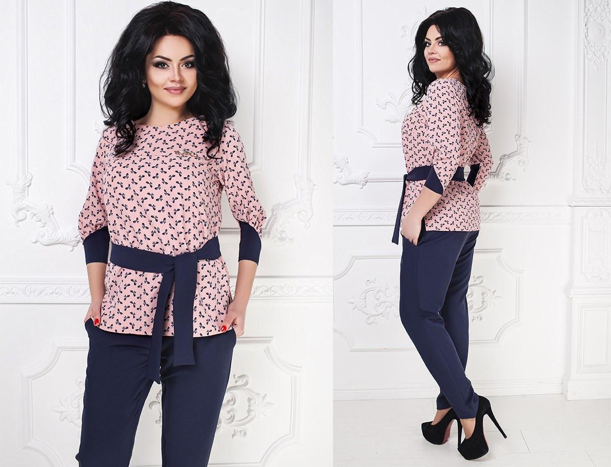 d731eeaed921 Женский красивый костюм больших размеров. Блуза и брюки. Размеры 48-54, фото