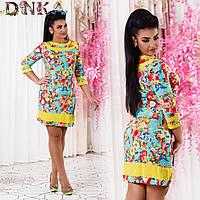 Платье с цветочным принтом, больших размеров