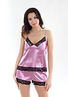 Пижама из атласной ткани с кружевами, фиолетовый цвет, размер S-M (EU38, RUS44)