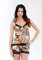 Пижама из атласной ткани с кружевами, разноцветная, размер S-M (EU38, RUS44)