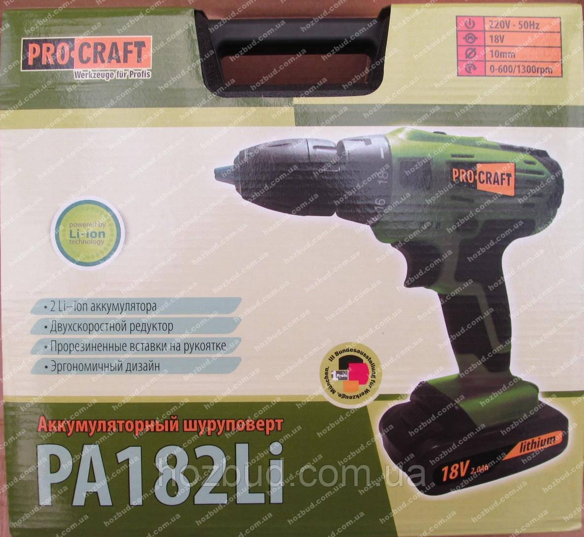 Шуруповерт аккумуляторный Proсraft PA182Li