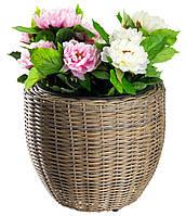 Напольный садовый горшок - вазон для цветов из петана (ротанг), высота 36 см
