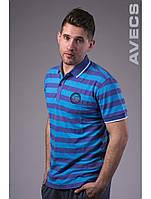 Футболка тенниска поло мужская Avecs AV-30002 Lilac/Blue 11 Авекс Размеры 50 52