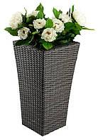 Напольный большой садовый горшок вазон  для цветов (искусственный ротанг) высота 70 см