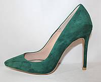 Элегантные модельные женские зеленые замшевые туфли на высокой шпильке