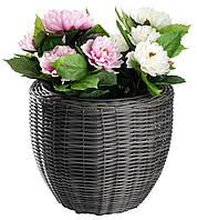 Напольный садовый горшок вазон для цветов серый (искусственный ротанг) высота 36 см