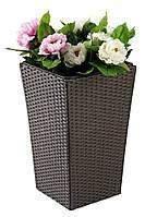 Напольный садовый горшок - вазон для цветов коричневый (искусственный ротанг) высота 50 см