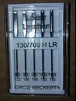 Иглы швейные Groz-Beckert (80, 90, 100) для кожи (5шт), к бытовым швейным машинам