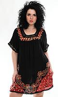 Туника женская черная с красным батиком, батал, размер свободный, фото 1