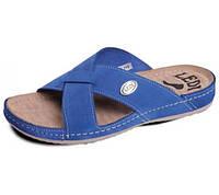 Обувь анатомическая - шлепанцы  женские анатомические с массажной стелькой (замш синий, белый)
