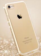 Силиконовый золотой чехол с камнями Сваровски для Iphone 7 7S, фото 1