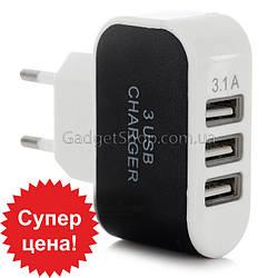 Зарядный блок, 3 порта USB, зарядка, зарядное, юсб