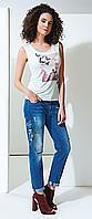 Голубые джинсы GUITAR рваные зауженные с цветами и попугаем