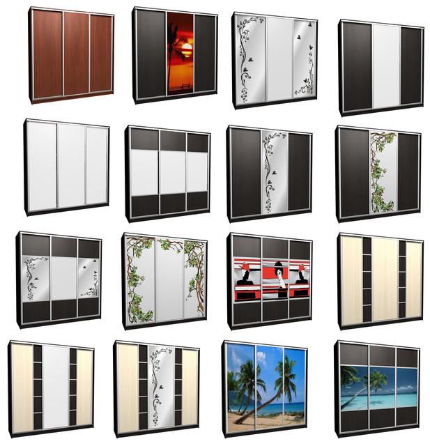 Шкафы-купе, наполнение дверей: дсп, зеркало, зеркало матовое (сатин), пескоструйное