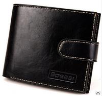 Стильный черный мужской кожаный кошелек бумажник на кнопке