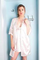 Красивый шелковый пеньюар и халатик с кружевом, цвета шампань