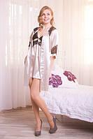 Модный шелковый комплект пеньюар с халатом, цвета кофе с молоком и черным кружевом